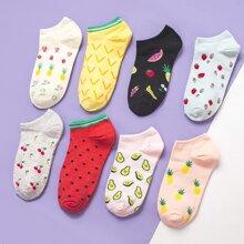 8 Paare Socken mit Obst Muster