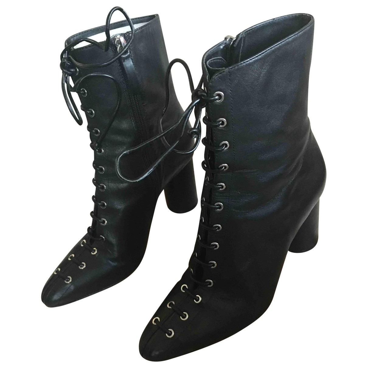 Zara N Black Leather Ankle boots for Women 38 EU