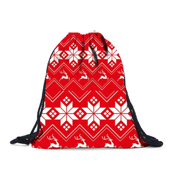 Women Christmas Print Cotton Backpack Leisure Storage Bag
