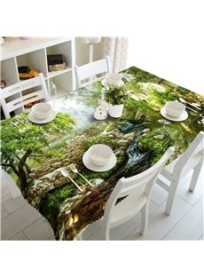 3D Stone House with Flowing River Printed Thick Polyester Home and Hotel Table Cover