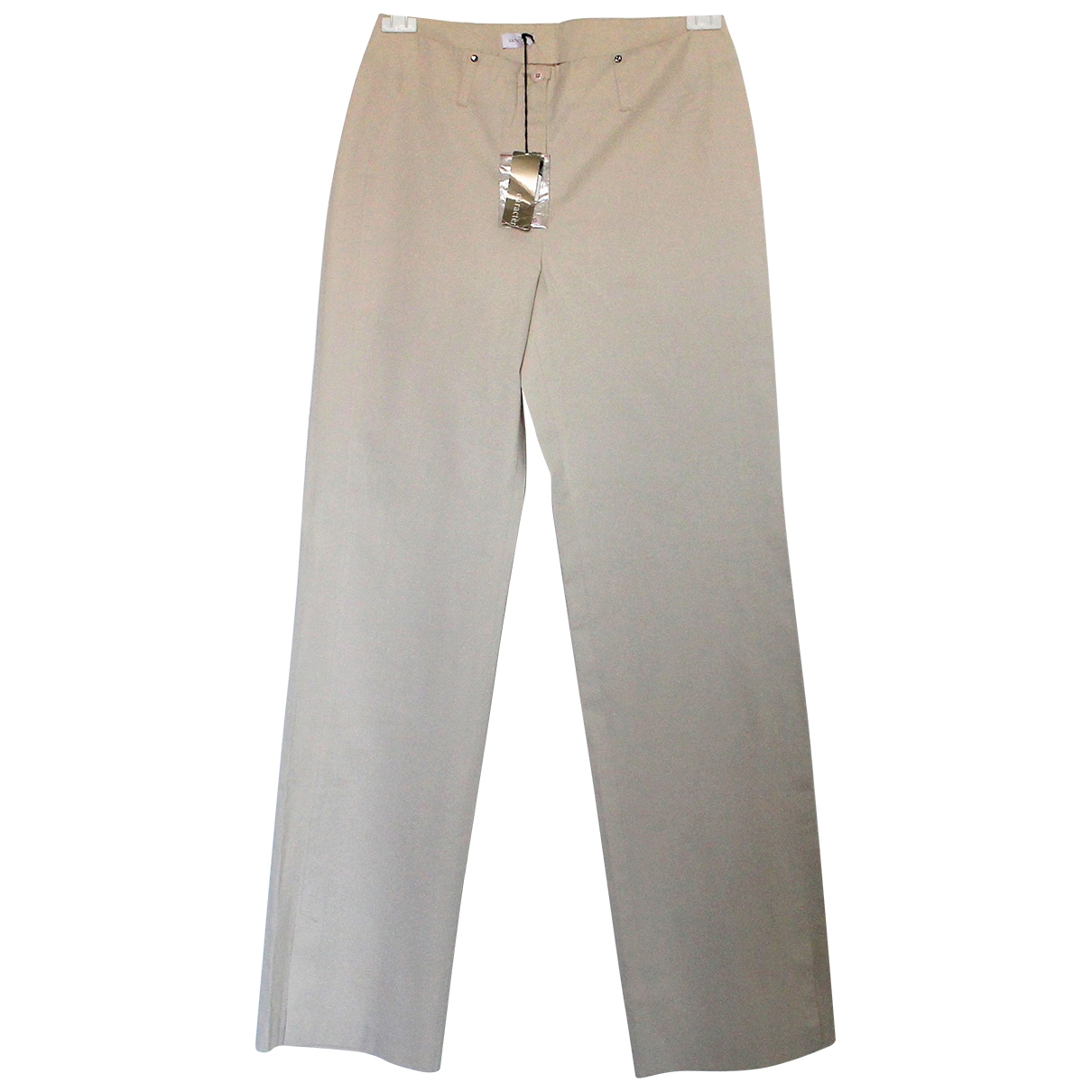 Non Signé / Unsigned \N Beige Cotton Trousers for Women 44 IT