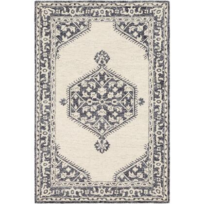 Granada GND-2305 8' x 10' Rectangle Traditional Rug in Black  Charcoal  Light Gray