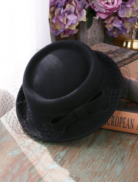 Milanoo Vintage Wool Hat Burgundy Retro Bow Fascinator Headpieces Women Costume Accessories
