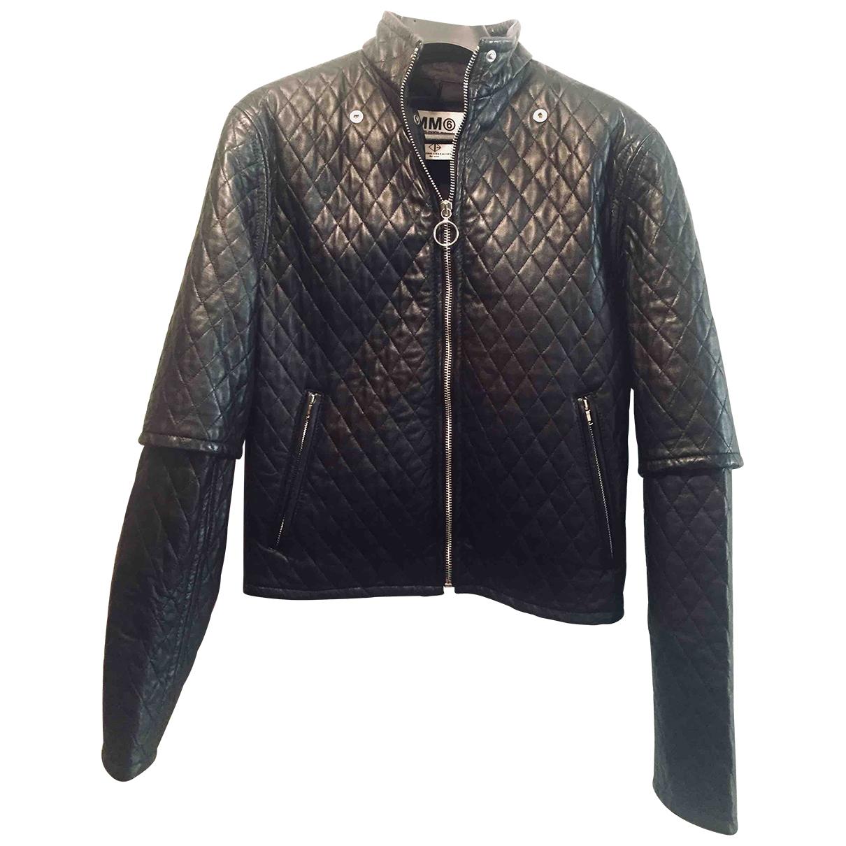 Mm6 \N Black Leather Leather jacket for Women 38 FR