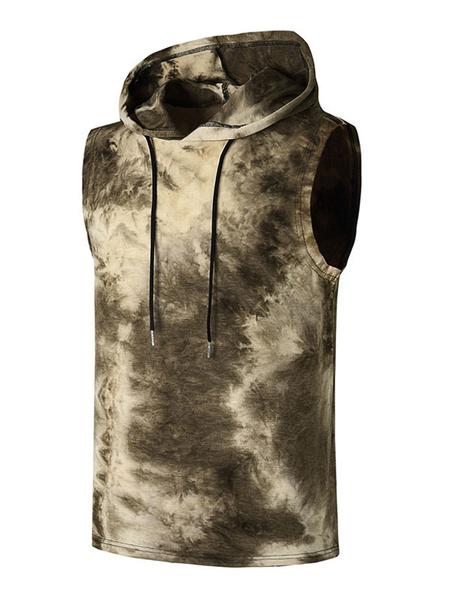 Milanoo Men Sleeveless Hoodie Tie Dye Hooded Vest