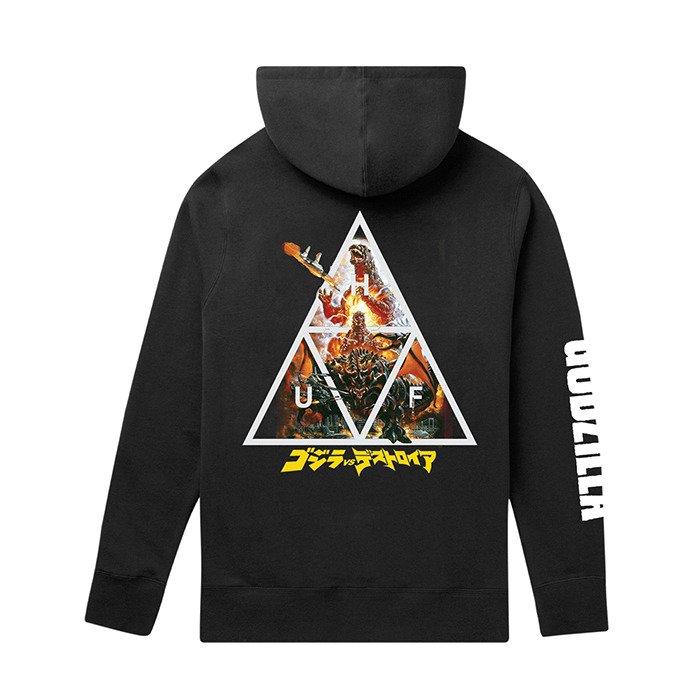 HUF x Godzilla Triple Triangle Pullover Hoodie PF00357 BLACK