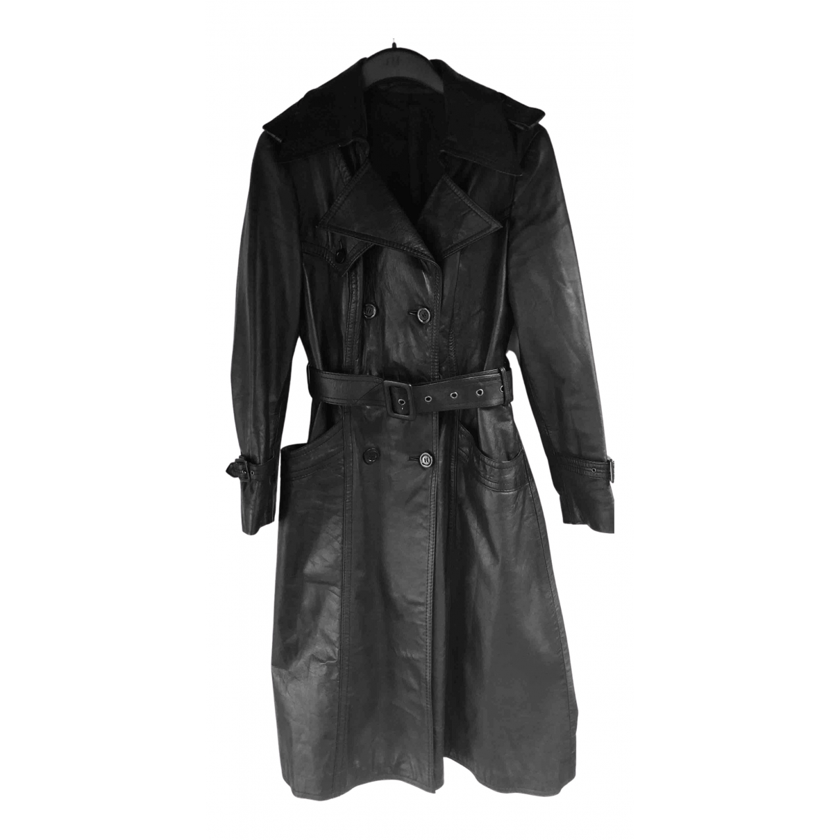 Non Signé / Unsigned N Black Leather coat for Women 38 FR