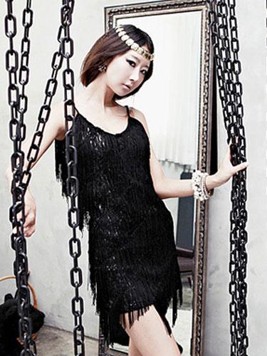 Milanoo Sequin Party Dress 1920s Flapper Glitter Fringe Night Dress Sexy Club Dress