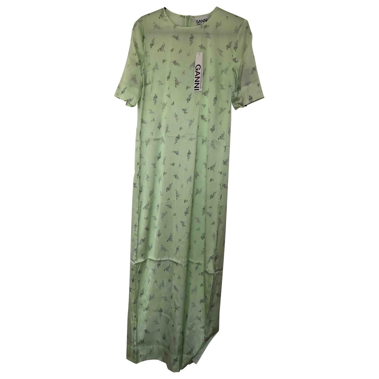 Ganni Spring Summer 2020 Kleid in  Gruen Seide