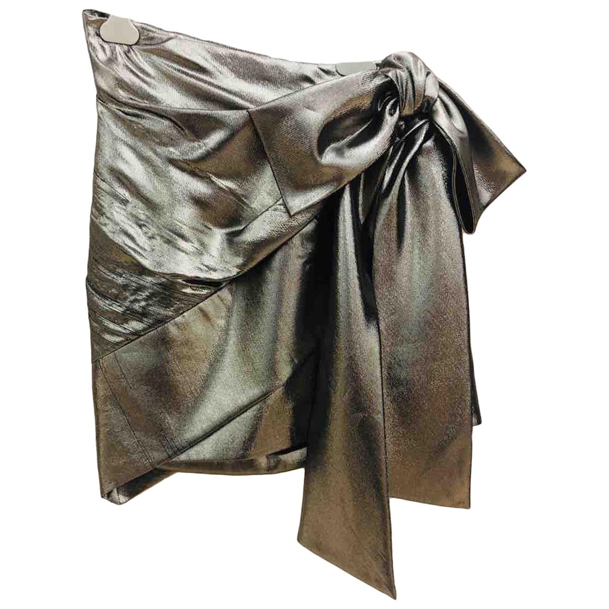 Saint Laurent \N Gold Silk skirt for Women 36 FR