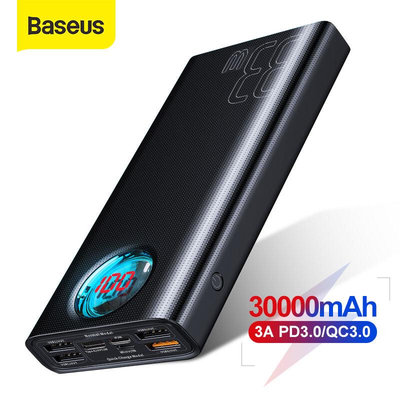 Baseus 30000mAh Power Bank 5 Outputs and 3 Inputs 18W USB-C PD3.0 QC3.0 Fast Charging LED Digital Display External Batte
