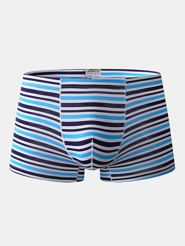Men Thin Nude Underwear Stripe Ice Silk Seamless Boxer Briefs