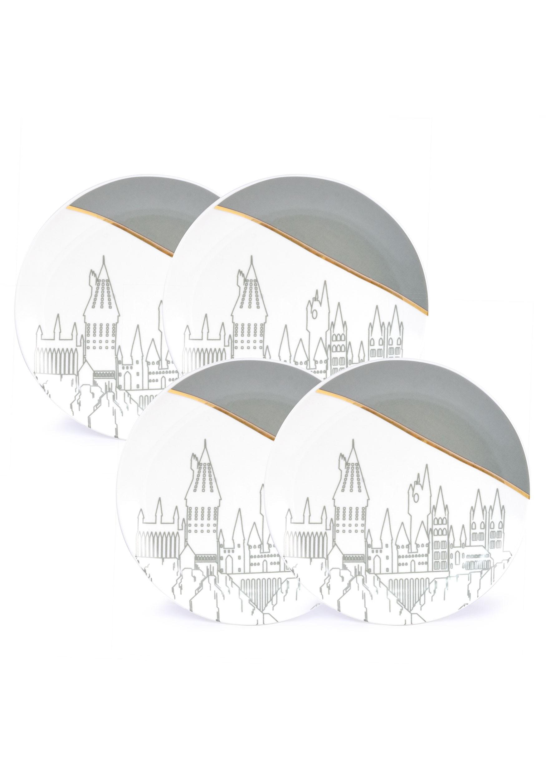 Harry Potter Hogwarts 4 Pack White Plate Set