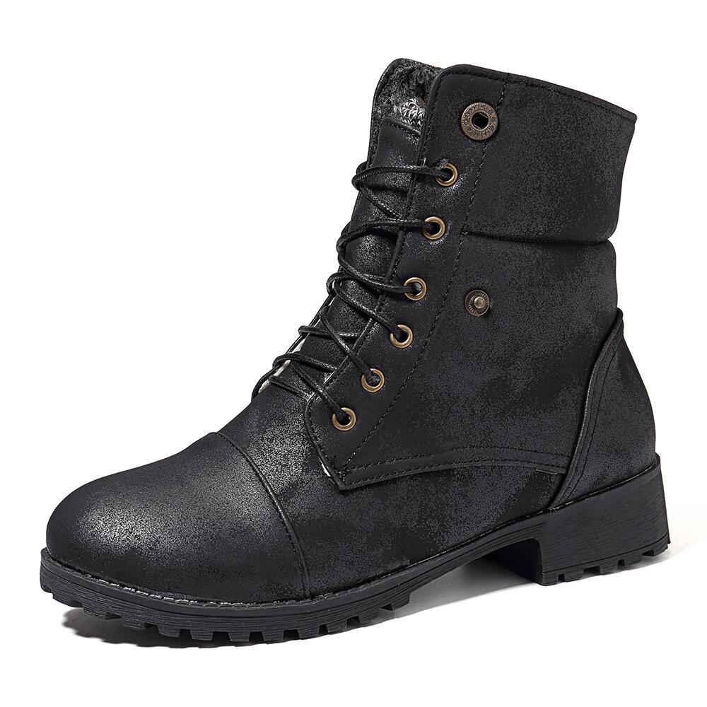 Wool Plush Low Heel Cotton Boots