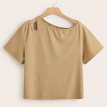Plus Solid Asymmetrical Neck Tee