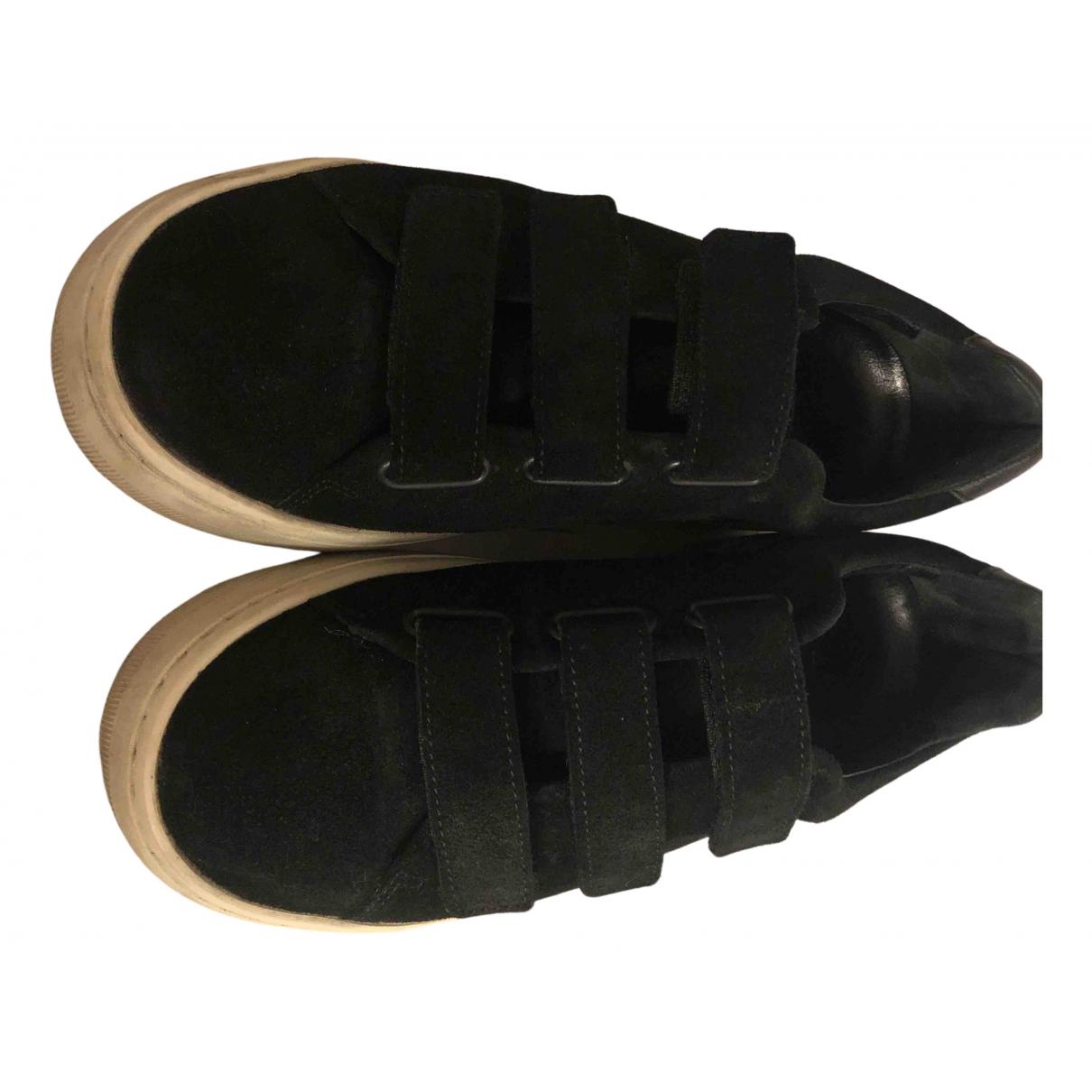 Sandro - Baskets   pour femme en cuir - noir