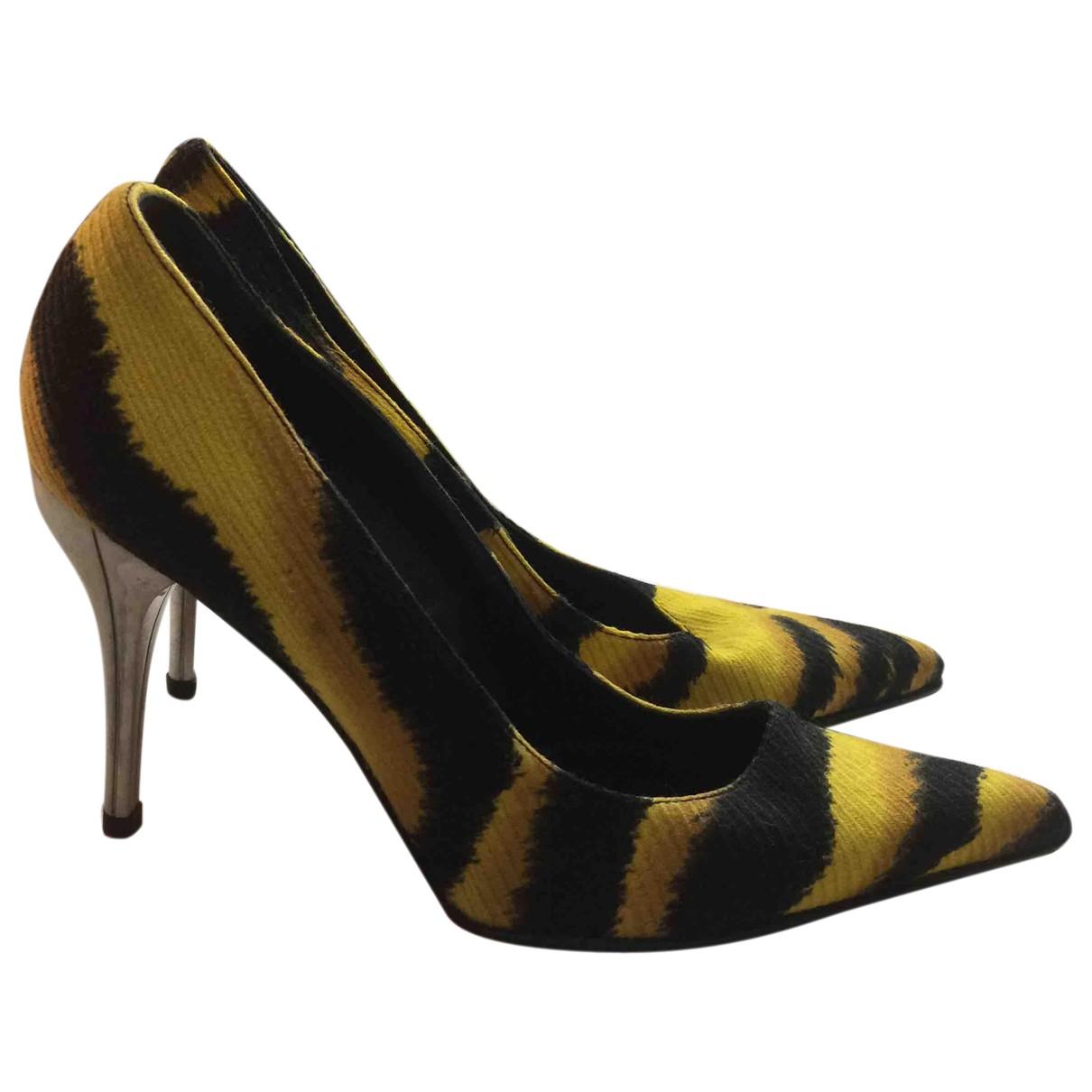 Versace N Yellow Cloth Heels for Women 39 EU