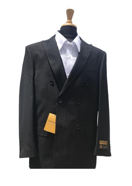 Mens Wool Stitched Lapel Double Pinstripe Blazer Sport Coat Jacket