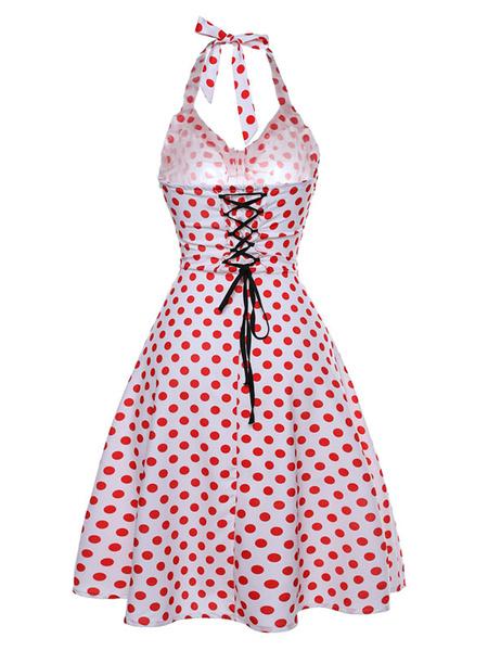 Milanoo Red Retro Dress Polka Dot Print Halter Women's Lace Up Short Vintage Dresses