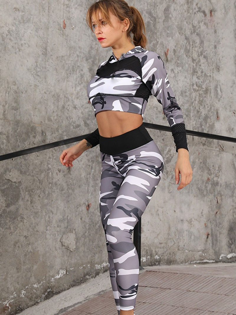 Ericdress Camouflage Print Breathable Womens Workout Set