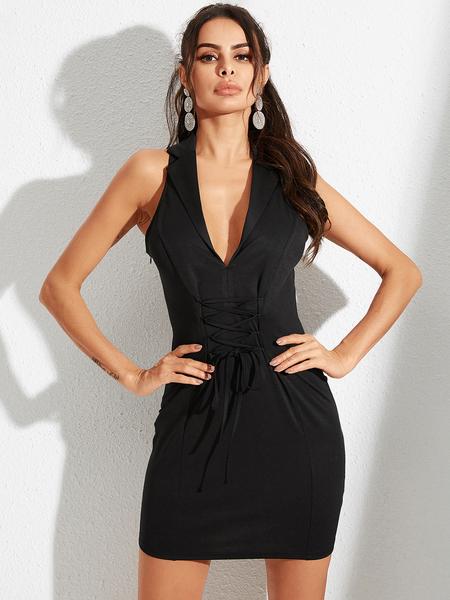 YOINS Black Lace-up Design Deep V Neck Sleeveless Dress