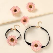 5 Stuecke Maedchen Jewelry Set mit Blumen Dekor