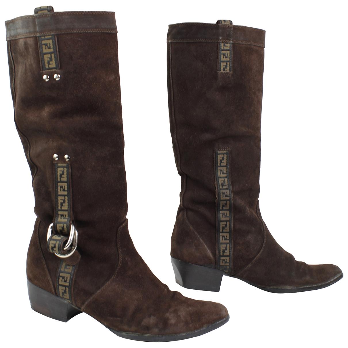 Fendi - Bottes Cowboy pour femme en suede - marron