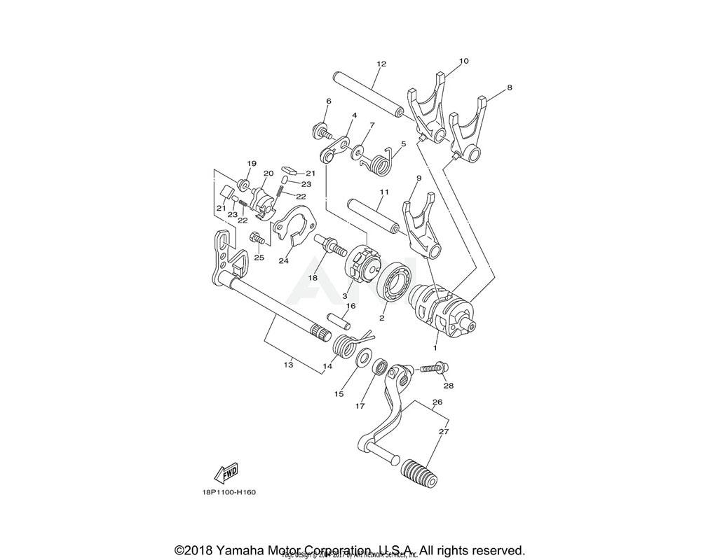 Yamaha OEM 18P-18511-00-00 FORK, SHIFT 1