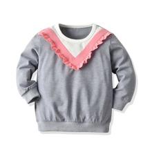 Sweatshirt mit Chevron Muster und Rueschenbesatz