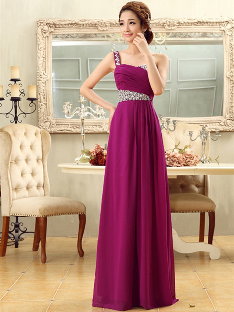 Elegant A-Line Beading One Shoulder Bridesmaid Dress