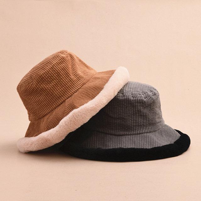 Cute Soft Fisherman Hat Corduroy Basin Hat Winter Warm Hats