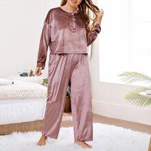 Plus Solid Button Front Velvet Pajama Set