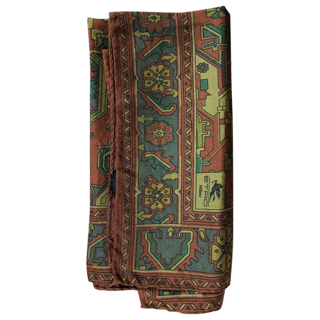 Etro \N Burgundy Silk scarf & pocket squares for Men \N