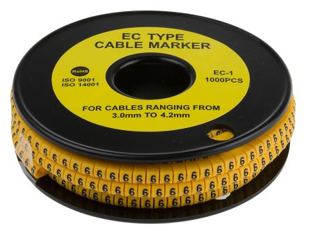RS PRO Slide On Cable Marker, Pre-printed 6 Black on Yellow 3 → 4.2mm Dia. Range