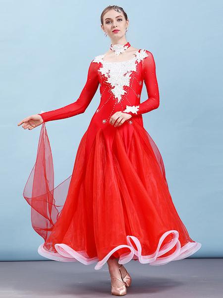 Milanoo Ballroom Dance Costume Dresses Choker Long Sleeve Beaded Applique Training Performance Dancing Wear Halloween
