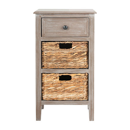 Everly 3-Drawer Storage End Table, One Size , White