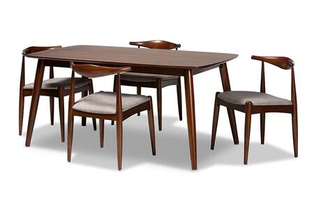 Aeron Collection AERON-LIGHTGREY/WALNUT-5PCDININGSET 5 Piece Dining Set with Tapered Legs  Walnut Brown Solid Rubberwood Frame and Polyester Fabric