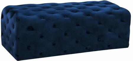 Casey Collection 121Navy 52 Ottoman with Velvet Upholstery and Deep Button Tufting in