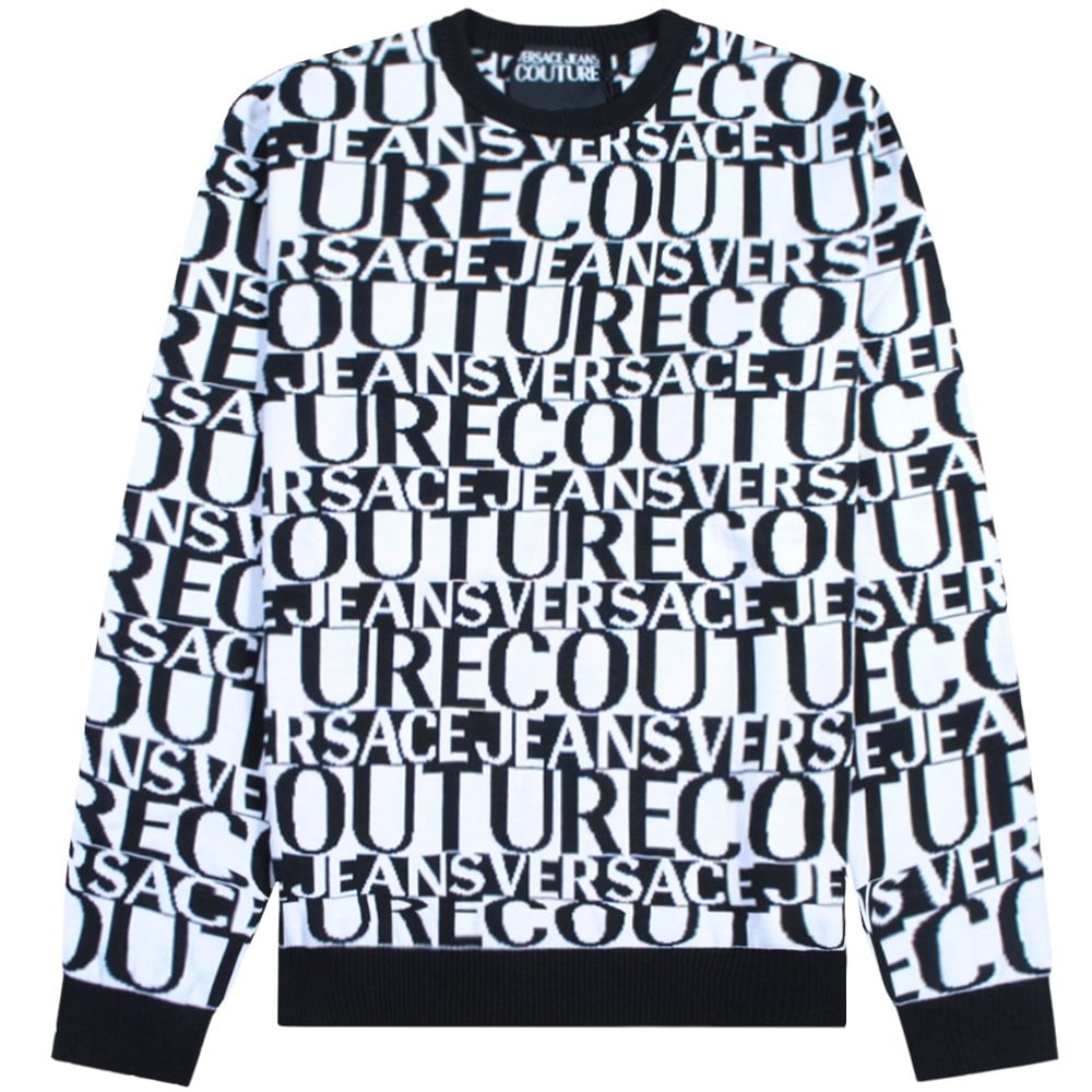 Versace Jeans Couture Jacquard Lettering Knitted Jumper Colour: WHITE,