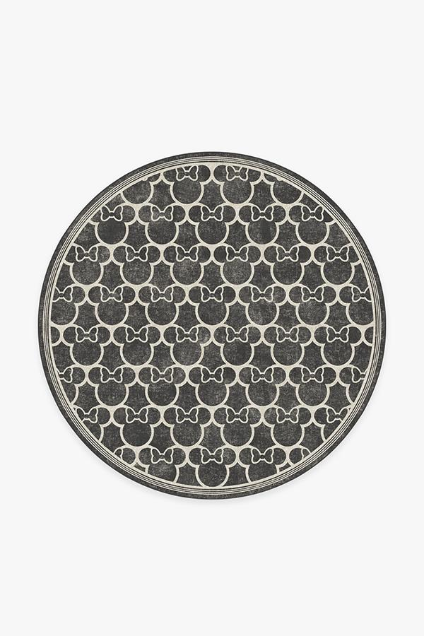 Washable Rug Cover & Pad | Minnie Trellis Black Rug | Stain-Resistant | Ruggable | 6' Round