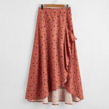 Falda con estampado de lunares bajo con fruncido asimetrico de cintura elastica
