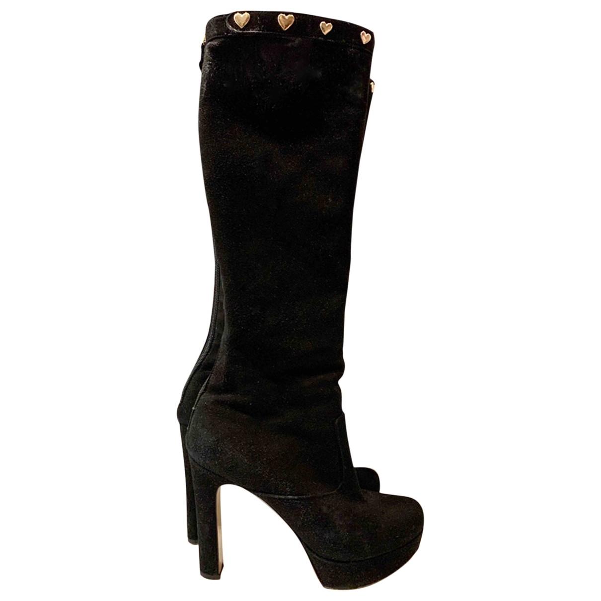 Twin Set - Bottes   pour femme en cuir - noir