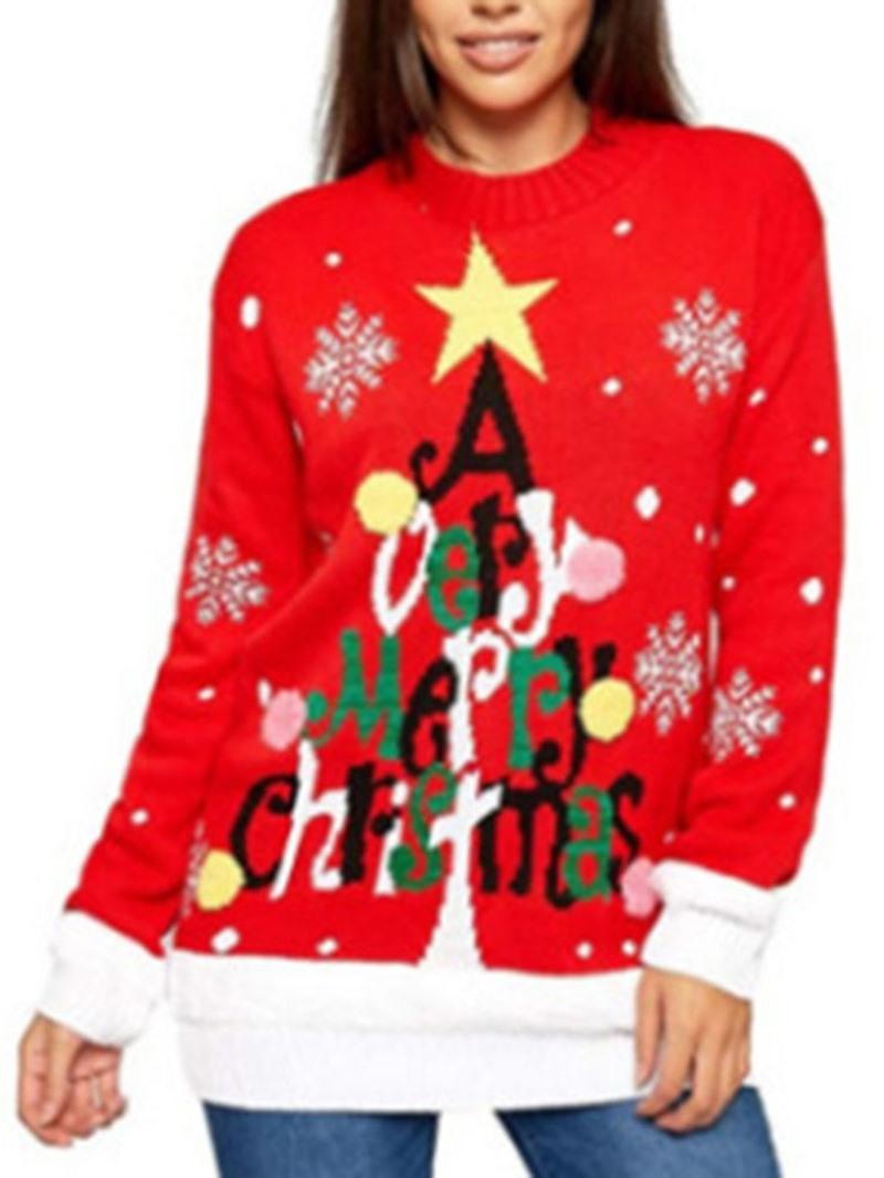 Ericdress Regular Print Straight Christmas Women's Sweater