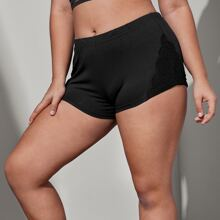 Plus Solid Contrast Lace Shorts