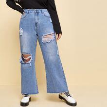 Plus Ripped Raw Hem Wide Leg Jeans