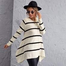 Pullover mit Streifen und asymmetrischem Saum