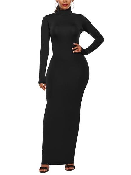 Yoins Black High Neck Long Sleeves Bodycon Bodycon Dress