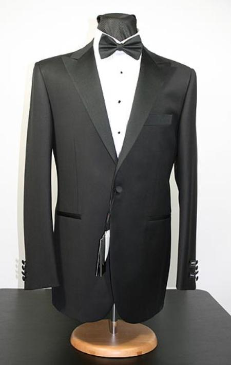 Peak lapel flat front pants 1buttonTuxedo jacket 38