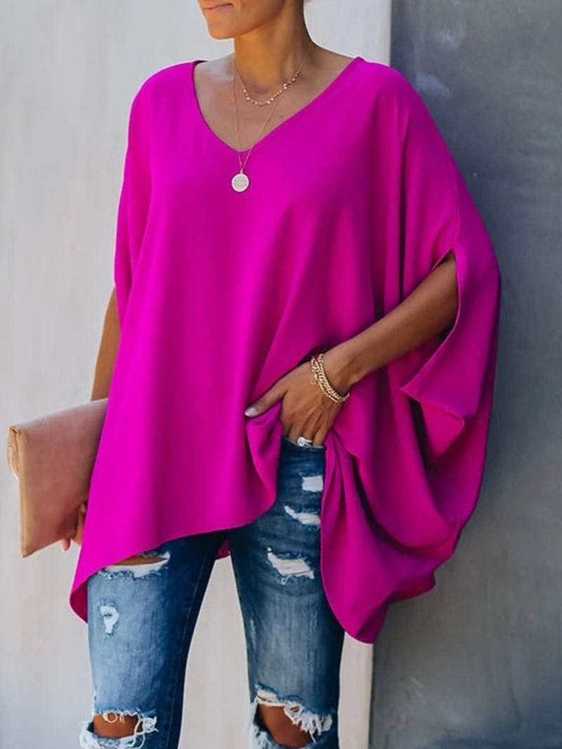 Ericdress Mid-Length Plain Three-Quarter Sleeve Casual Loose T-Shirt