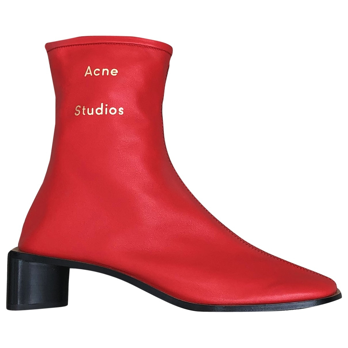Acne Studios - Boots   pour femme en cuir - rouge